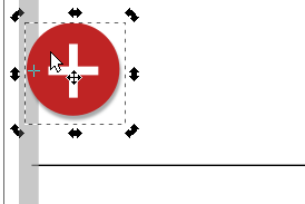 + icon next to thin gray rectangle