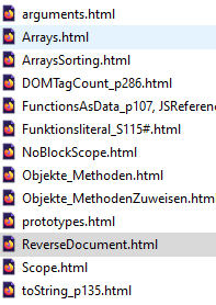 a list of files